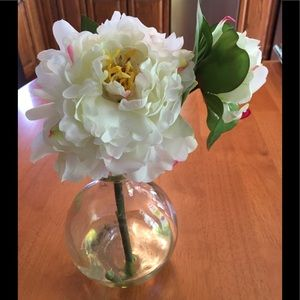 Fabric, faux Peonie flower with Bud in glass vase